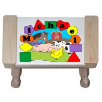 Personalized Name Farm Animals Theme Puzzle Stool - Primary (FREE SHIPPING)