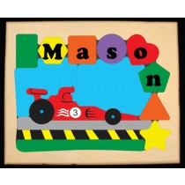 Personalized Name Indy Race Car Theme Puzzle (FREE SHIPPING)