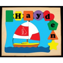 Personalized Name Sailboat Theme Puzzle (FREE SHIPPING)