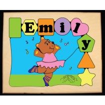 Personalized Name Ballerina Bear Puzzle Pastel - (FREE SHIPPING)