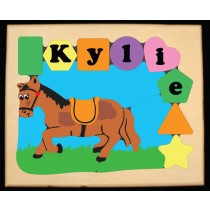 Personalized Name Horse Theme Puzzle - Pastel (FREE SHIPPING)