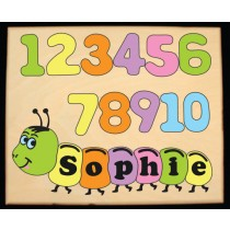 Personalized Name Number Worm Theme Puzzle - Pastel (FREE SHIPPING)