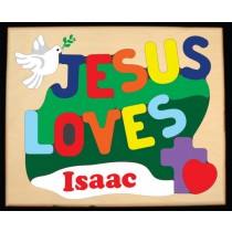 Personalized Name Jesus Loves Theme Puzzle (FREE SHIPPING)