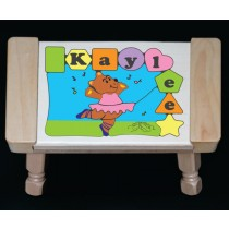 Personalized Name Ballerina Bear Puzzle Stool Pastel - (FREE SHIPPING)