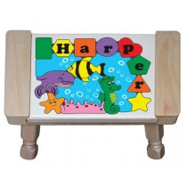 Personalized Name Under Water Fish World Puzzle Stool - (FREE SHIPPING)