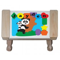 Personalized Name Panda Bear Theme Puzzle Stool - (FREE SHIPPING)