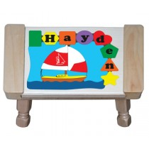 Personalized Name Sailboat Theme Puzzle Stool (FREE SHIPPING)