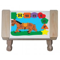 Personalized Name Horse Theme Puzzle Stool - Primary (FREE SHIPPING)