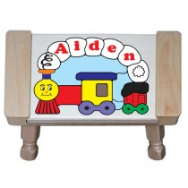 Personalized Name Small Train Theme Puzzle Stool (FREE SHIPPING)