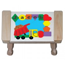 Personalized Name Dump Truck Theme Puzzle Stool (FREE SHIPPING)