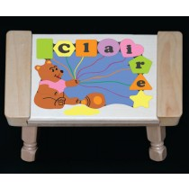 Personalized Name Honey Bear Theme Puzzle Stool - Pastel (FREE SHIPPING)