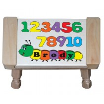 Personalized Name Number Worm Theme Puzzle Stool -  Primary (FREE SHIPPING)