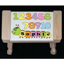Personalized Name Number Worm Theme Puzzle Stool - Pastel (FREE SHIPPING)