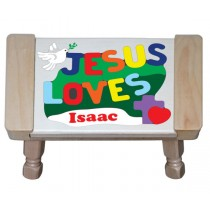 Personalized Name Jesus Loves Theme Puzzle Stool (FREE SHIPPING)