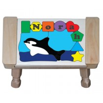 Personalized Name Orca Whale Theme Puzzle Stool (FREE SHIPPING)