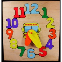 Personalized Name School Bus Clock Theme Puzzle (FREE SHIPPING)