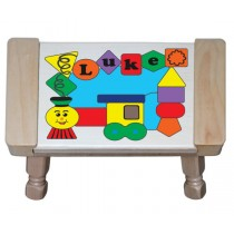 Personalized Name Train Shapes Theme Puzzle Stool (FREE SHIPPING)