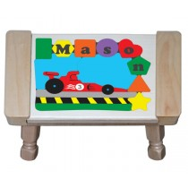 Personalized Name Indy Race Car Theme Puzzle Stool (FREE SHIPPING)