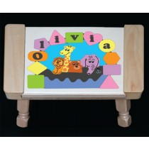 Personalized Name Noah's Ark Theme Puzzle Stool- Pastel (FREE SHIPPING)