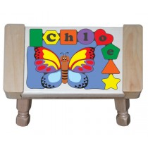 Personalized Name Butterfly Theme Puzzle Stool -  Primary (FREE SHIPPING)