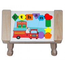 Personalized Name Fire Truck Theme Puzzle Stool (FREE SHIPPING)