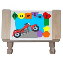 Personalized Name Motorcycle Bike Theme Puzzle Stool (FREE SHIPPING)