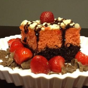 Honey Bun Strawberry Chocolate Cake