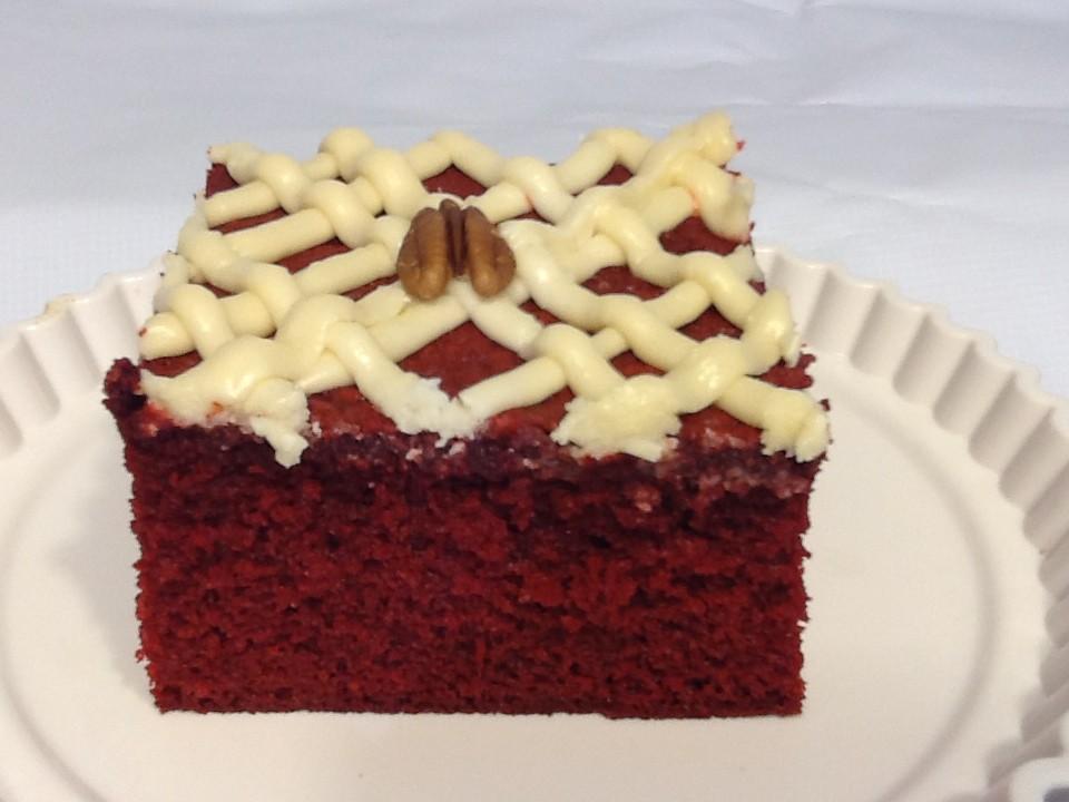 Honey Bun Red Velvet Chocolate Pecan Cake