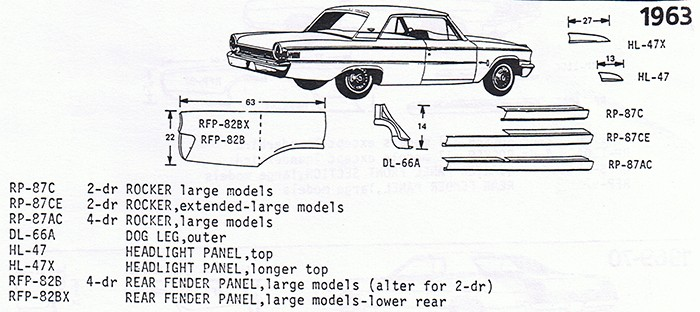 63 Galaxie exploded view