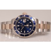 2008 Rolex Submariner 18K/SS Bezel Engraved M Serial 16613 Blue Dial Box & Card