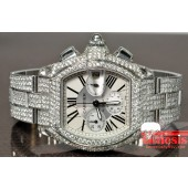 Cartier Roadster Chronograph XL   ref. w62019x6 with custom diamonds apx 16cts