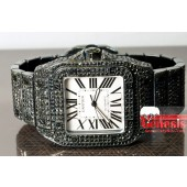 Cartier Santos 100 Large Black PVD mens set with 18.50cts of Black Diamonds