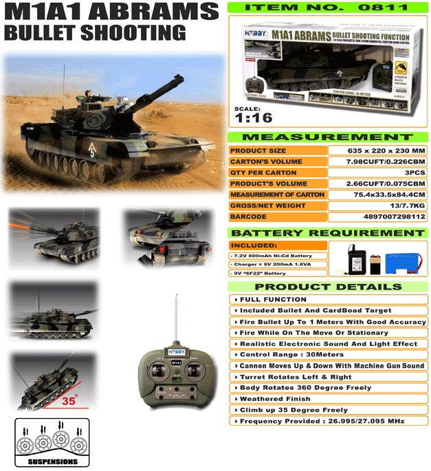 JHC0811 - M1A1 Abrams [Bullet Shooting]