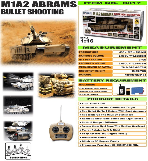 JHC0817 - M1A2 Abrams [Bullet Shooting]