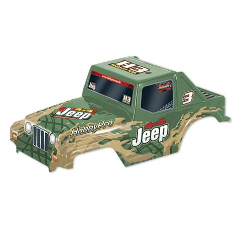 H33 1:10 Off Road Jeep Body- Green