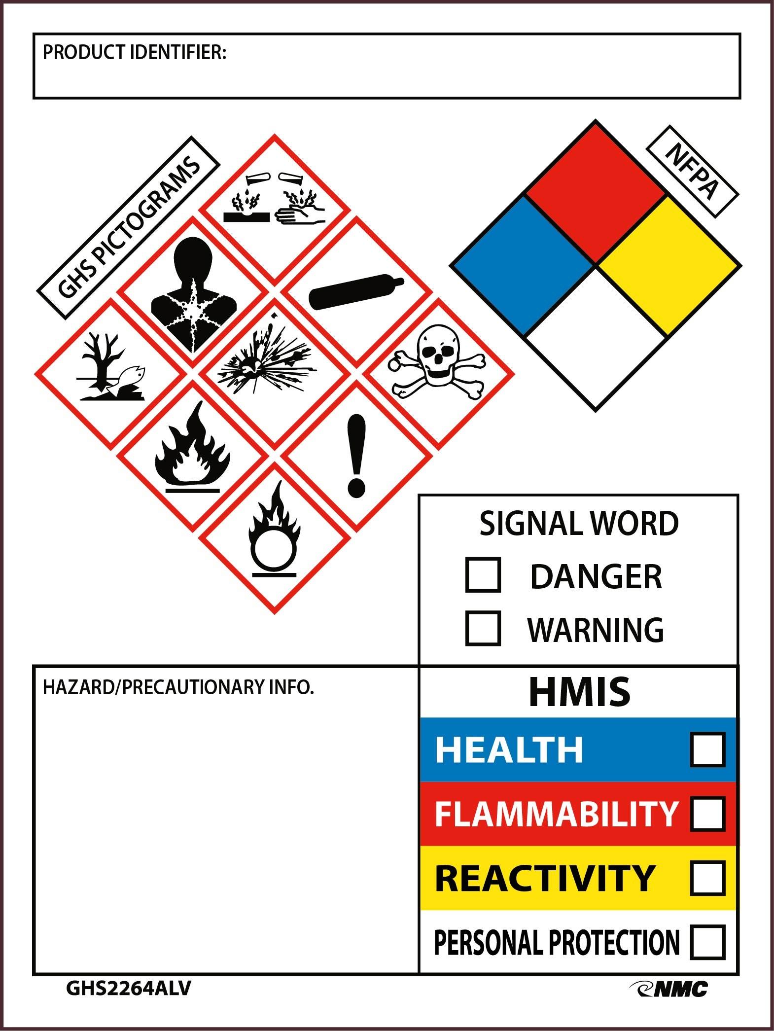 Ghs Secondary Container Labels With Box Ghs2264alv