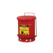 Justrite Foot-Operated Self-Closing Cover Oily Waste Can, 6 Gallon, Red (#09100)