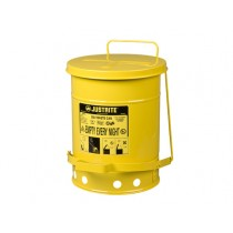 Justrite Foot-Operated Self-Closing Cover Oily Waste Can, 6 Gallon, Yellow (#09101)