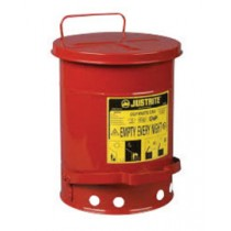 Justrite Foot-Operated Self-Closing Soundgard Cover Oily Waste Can, 6 Gallon, Red (#09108)