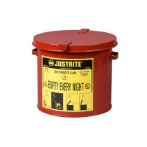 Justrite Countertop Oily Waste Can, 2 gallon, Red (#09200)