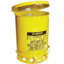 Justrite Foot-Operated Self-Closing Cover Oily Waste Can, 10 Gallon, Yellow (#09301)