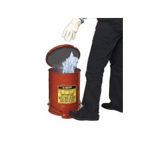 Justrite Foot-Operated Self-Closing Soundgard Cover Oily Waste Can, 10 Gallon, Red (#09308)
