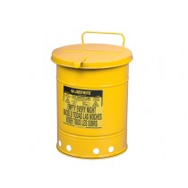 Justrite Hand-Operated Cover Oily Waste Can, 10 Gallon, Yellow (#09311)