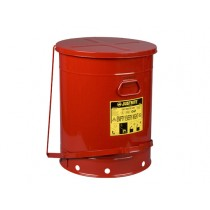 Justrite Foot-Operated Self-Closing Cover Oily Waste Can, 21 Gallon, Red (#09700)