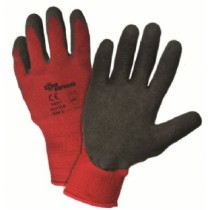 Red Poly/Cotton Shell with Black Latex Crinkle Finish Gloves (#701CRLB)