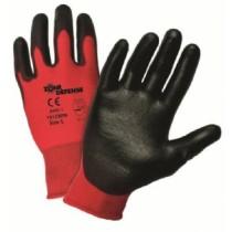 Red Nylon Shell with Black Polyurethane Palm Coat Gloves (#701CRPB)