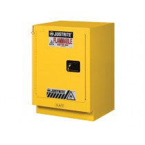 Justrite Under Fume Hood Solvent/Flammable Liquid Safety Cabinet, 1 Shelf, Self-Close Left Hand Door, 15 Gallon Cap. (#882430)