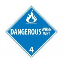 Dangerous When Wet Class 4 DOT Placard (#DL47)