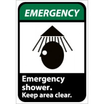 Emergency shower. Keep area clear ANSI Sign (#EGA2)