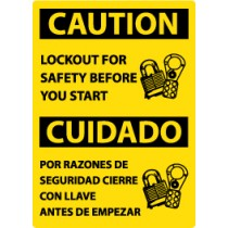 Caution Lockout For Safety Before You Start Spanish Sign (#ESC177)